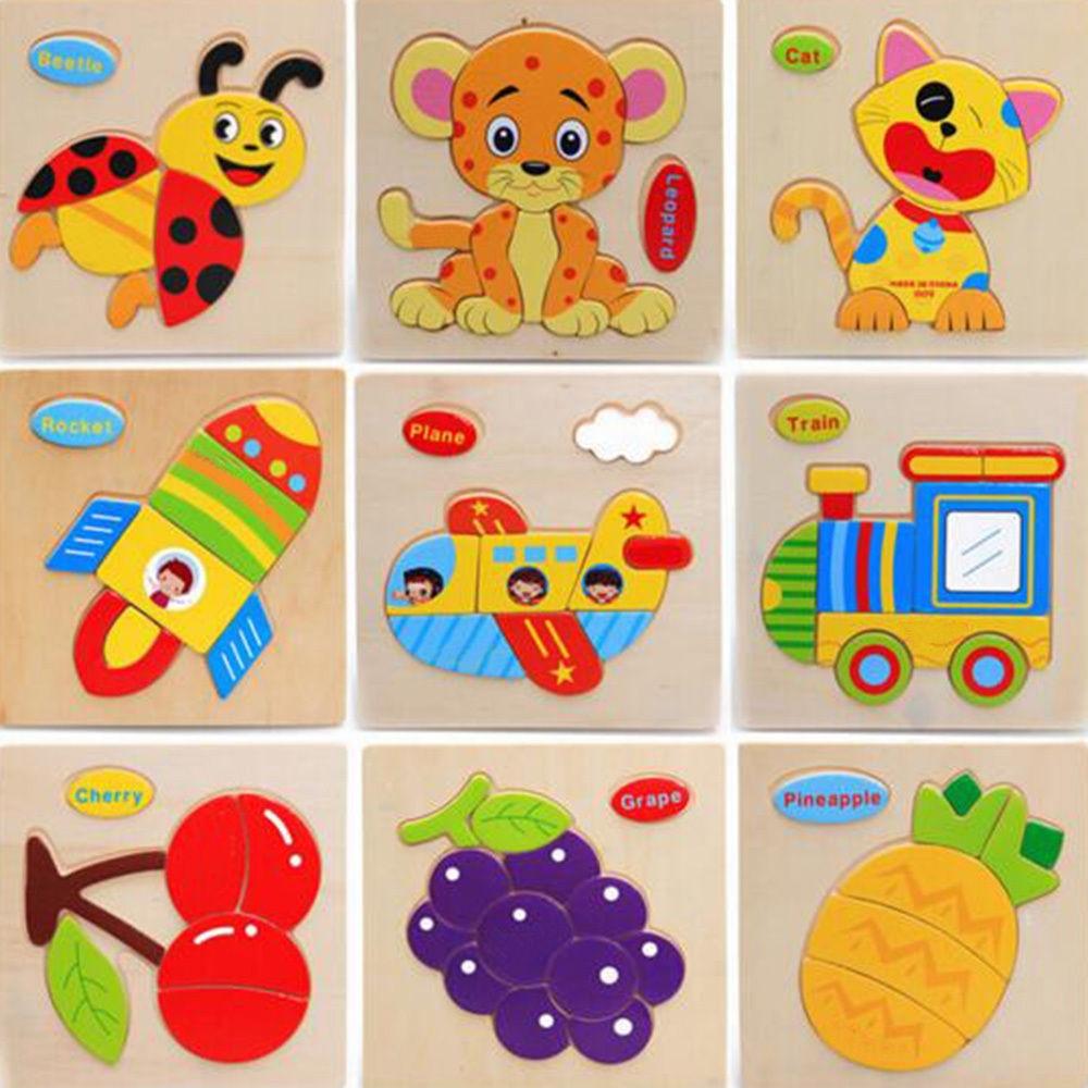 Jucarii pentru copii Puzzle 3D Stereo Jigsaw Puzzle Animale de desene animate Tangram Child Educational Gift