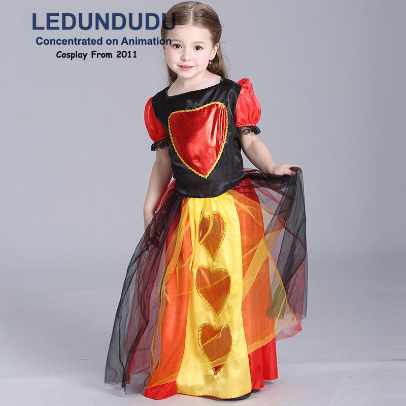Girls Queen Of Hearts Dress Kids Fancy Clothing Children's Halloween Party Cosplay Costume