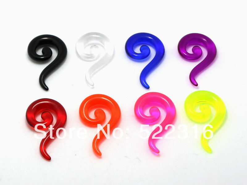 JEWEL acrylic question mark spiral ear tapers mix size 2mm-8mm ear gauges plug wholesale body piercing jewelry free shipping