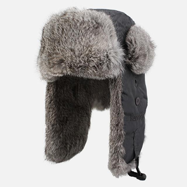 236629861c3 Kenmont Winter Men 100% Natural Rabbit Fur Dark Grey Bomber Aviator Russia  Hat Ski Cap 2131