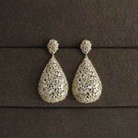 Fashion AAA cubic zirconia pave setting baguette stones big drop earrings women's unique jewelry,e9329