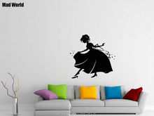 Mad World-Cinderella Girl In Night Gown Fairytale Wall Art Stickers Wall Decal Home DIY Decoration Removable Decor Wall Stickers