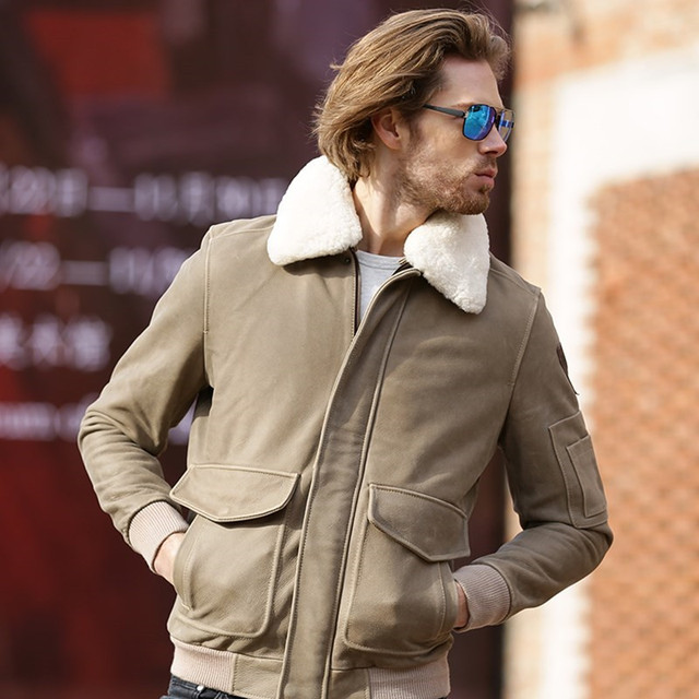 2017 New Men Camel Leather Pilot Jacket Wool Collar Real Cowhide Plus Size XXXL Male Winter Military Aviator Coat FREE SHIPPING