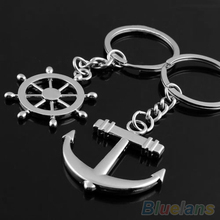 Couple Love Navy Style Anchor Rudder Rhinestone Alloy Key Chain font b Ring b font Keychain