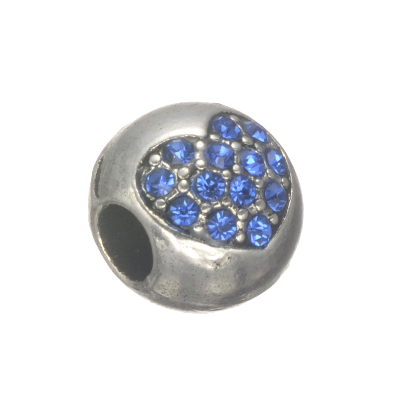 2017 New Rose Rhinestones Love Heart Charms European DIY Beads For Women Men Pan Snake Chains Bracelets Bangles DIY Making
