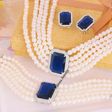 V062669S Crystal Zircon Sets Eerring Necklace Bracelet Zinc Alloy 18K rhodium Plated With Austria crystal pearls Fashion Jewelry