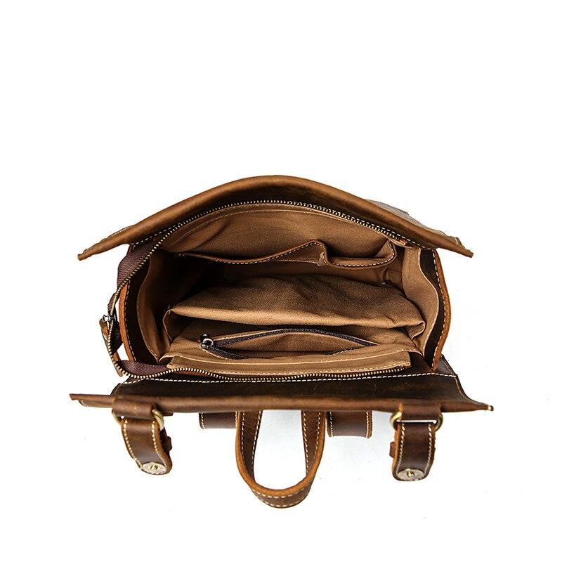 Sac à dos de mode en cuir de vache haut de gamme sac à dos de voyage pour hommes d'affaires sac en cuir de grande capacité pour étudiants sac à dos de Magazine - 5