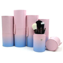 1Pcs Empty Stylish PU Makeup Brushes Kit Studio Holder Tube Convenient Portable Leather Cup Cosmetic Brush Pen Container Case цены