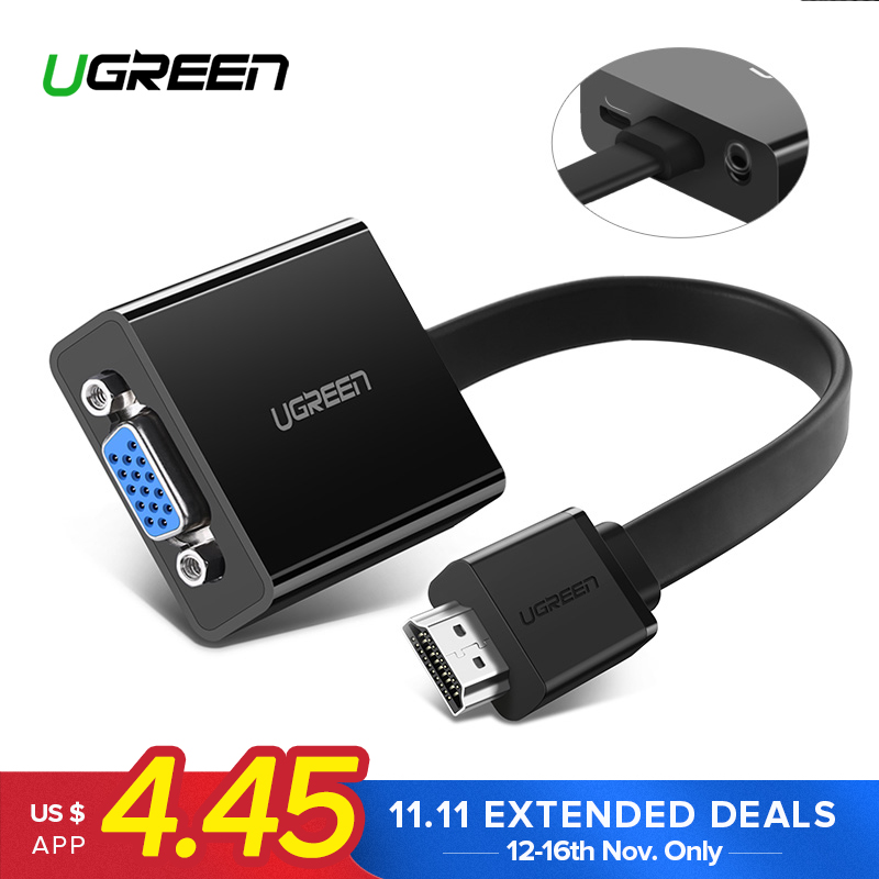Ugreen HDMI to VGA Adapter for PS4 Pro Raspberry Pi 3 2 Chromebook TV HDMI VGA Cable Digital Analog Audio VGA to HDMI Converter цена