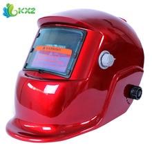 Rojo Solar Molienda Casco De Soldadura de Oscurecimiento Automático de Soldadura Eléctrica Cara máscara Herramientas de Tapa de la Lente para ARC MIG TIG Soldador Palo soldadura