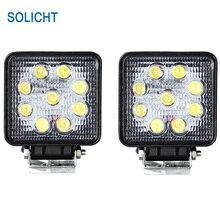 SOLICHT 4 ''дюймовый 27 Вт Светодиодный светильник для работы прожектор для вождения внедорожный 4x4 Автопогрузчик ATV противотуманный светодиодный рабочий свет 27 Вт 12 В 24 В