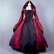 Top Quality Custom Made Size Girls Long Gothic Lolita Dress And Cloak Women Cosplay Witch Vestidos Lolita 23(China)