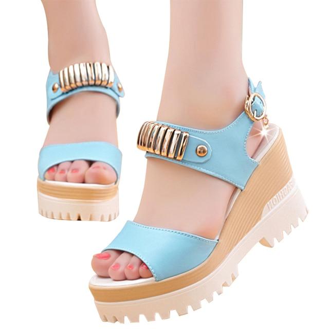 VTOTA 2017 Fashion Wedges Platform Sandals Women High Heel-ed Women Shoes Hot Buckle New Summer Shoes Open Toe Women's Shoes X10