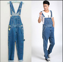 28-46 2015 Fashion denim overalls men loose baggy winter heavyweight cargo pants plus size denim jumpsuit