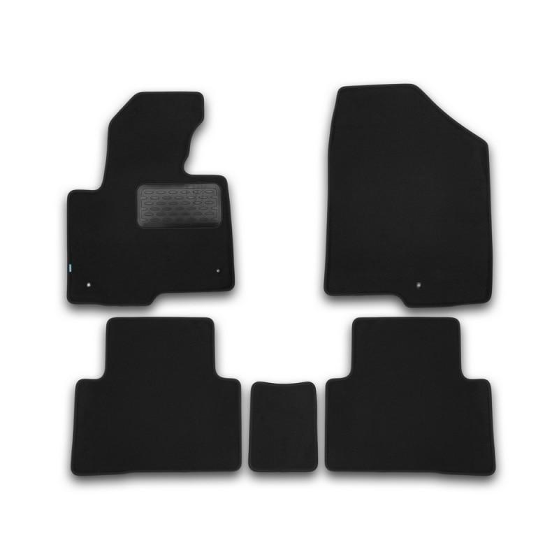 Mats in salon Klever Premium For HYUNDAI Santa Fe AUTOMATIC TRANSMISSION 2012-2017, cross... 5 PCs (textile) цена