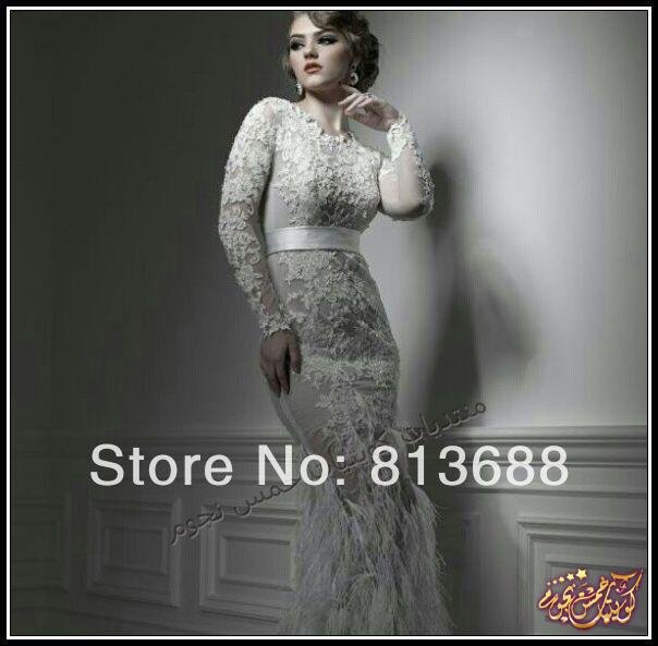 950f6a955376 Vintage UAE Arabia Long Sleeves Mermaid Formal Evening Dresses See Through  Feathers Dubai Design Special Occasion Party Gowns-in Evening Dresses from  ...