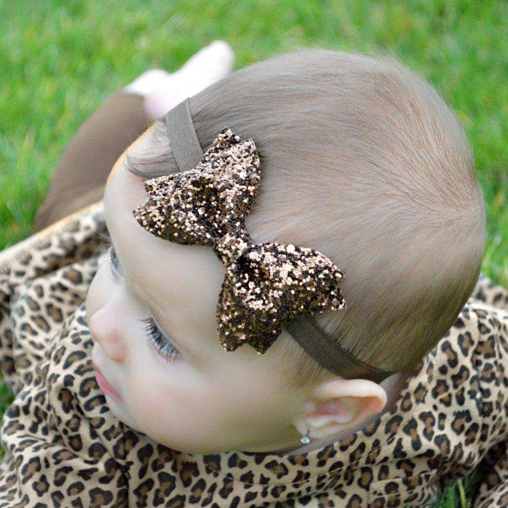TWDVS Headband Newborn Golden Bow Knot Hair band Elastic Bow Headband Kids Hair Accessories   Headwear   KT011