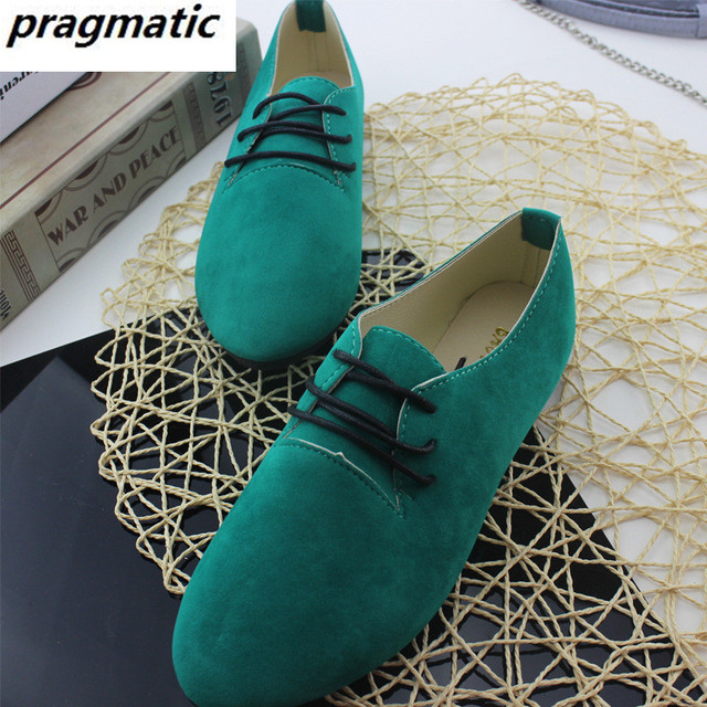 Women's solid color suede shoes Female pointed toe lace-up Single shoes Lady casual shoes Tufli Women shoes plus size 42 Spring