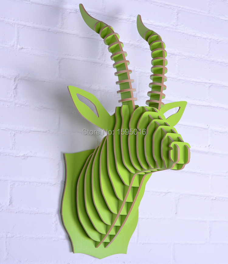 2014 NEW antelope head,wall animals decor,3D DIY wood wooden wall deer,American Rustic home decoration,wall art crafts,ornament