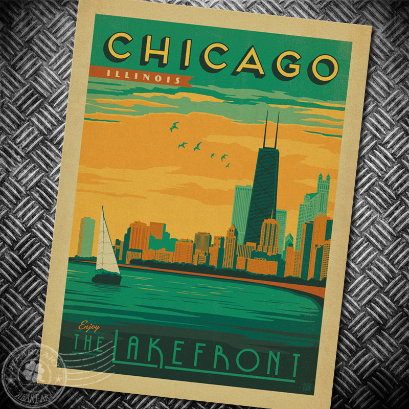 Compare prices on vintage chicago poster online shopping for Vintage chicago posters