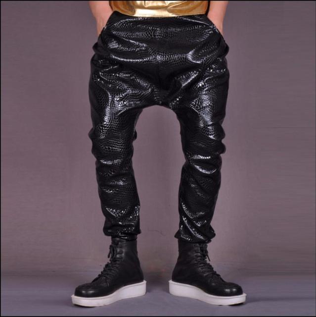 Cuero de Los NUEVOS Hombres pantalones de baile hiphop pantalones harén pantalones pantalones de cuero punky patrón de serpentina discoteca DJ trajes del cantante
