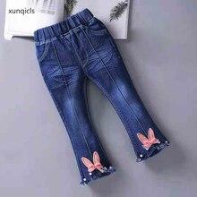 купить Spring Autumn Kids Girls Jeans Baby Denim Flare Pants Toddler Children Trousers Girl Clothes 1-7 Year по цене 631.58 рублей
