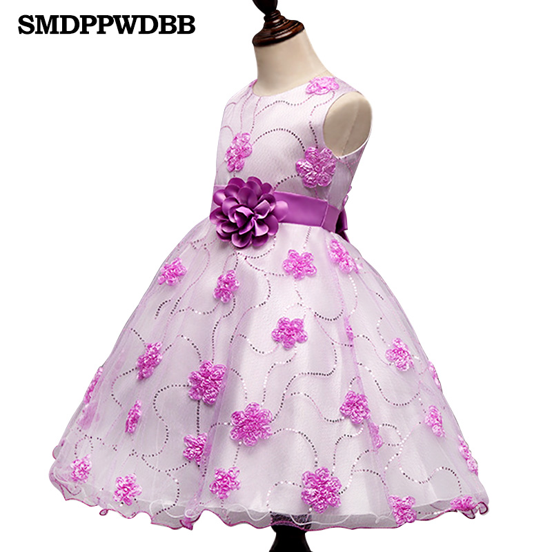 Summer Formal Kids Dress For Girls Princess Wedding Party Dresses Girl Clothes 4-10 Years Dress Bridesmaid Children Clothing girls short in front long in back purple flower girl dress summer 2017 girl formal dress kids party princess custume skd014283