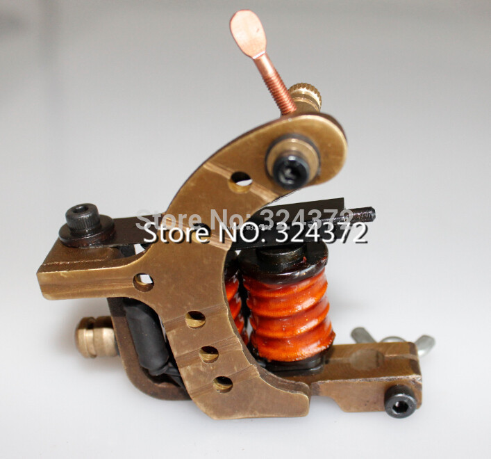 ФОТО handmade Cast brass frame 8wraps coils Professional liner Tattoo Machine Gun
