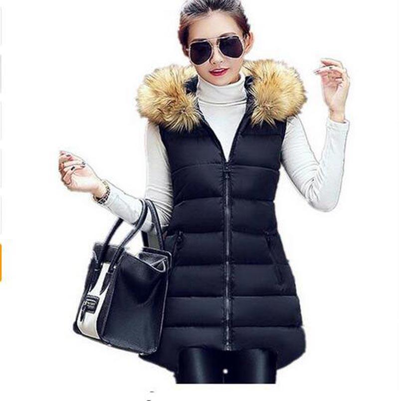 a868140c7 Colete Feminino 2016 inverno casacos gola de pele Artificial 6 cores Zipper  com capuz Colete mulheres Outerwear AE1461 em Coletes   Coletes de Roupas  das ...