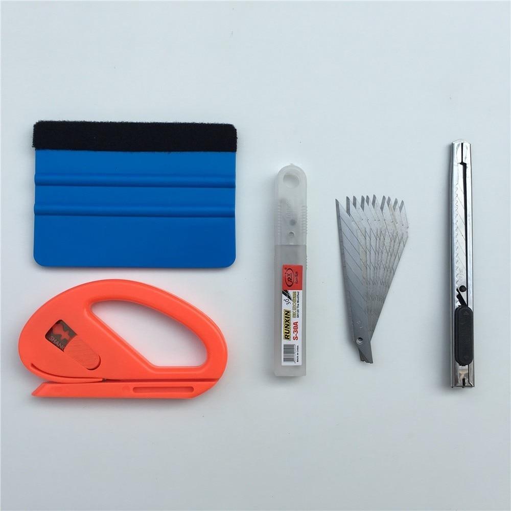 4pcs/lot Car Vinyl Wrap Film Tool Felt Squeegee Scraper Snitty Cutter Knife Car Styling Car Sticker Car Wrap Tools Kit