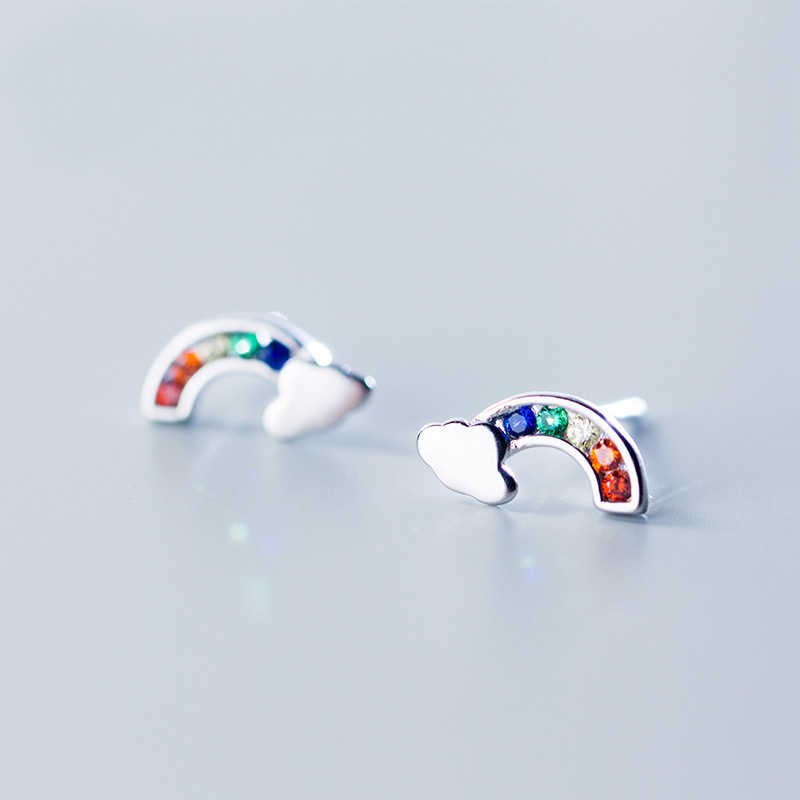 MloveAcc 100% 925 Solid Real Sterling Silver Jewelry Colorful CZ Rainbow Cloud Stud Earring Women Friend Girl Lady