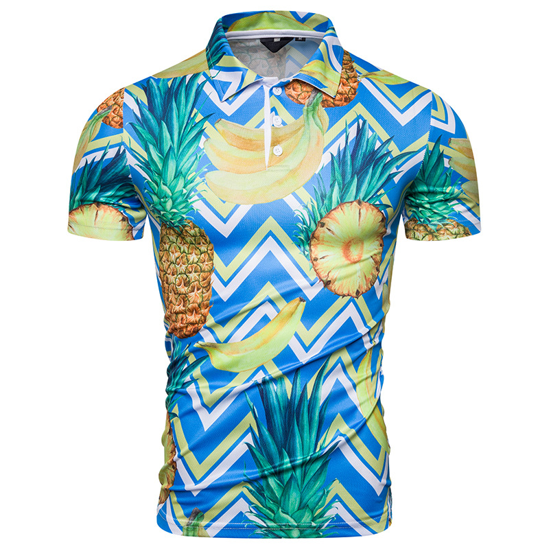 Men Polo Shirt 2019 New Summer Causal Pineapple Fruit Printed Hawaii Polos Hombre Manga Corta Tops Camisa Polos Masculina M XXL in Polo from Men 39 s Clothing