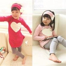 Обычная держателя сердце любовь наборы розовый девочек рубашки красный длинным детская