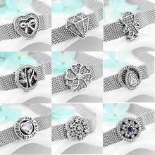 Горячая Распродажа 925 пробы серебряные сверкающие CZ круглые бусины с зажимом подходят к оригинальным рефлексиям браслет, ювелирные изделия с бриллиантами