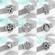 2019 Hot sale 925 Sterling Silver Sparkling CZ round Clip Beads Fit Original reflexions Bracelet Charms Jewelry making(China)