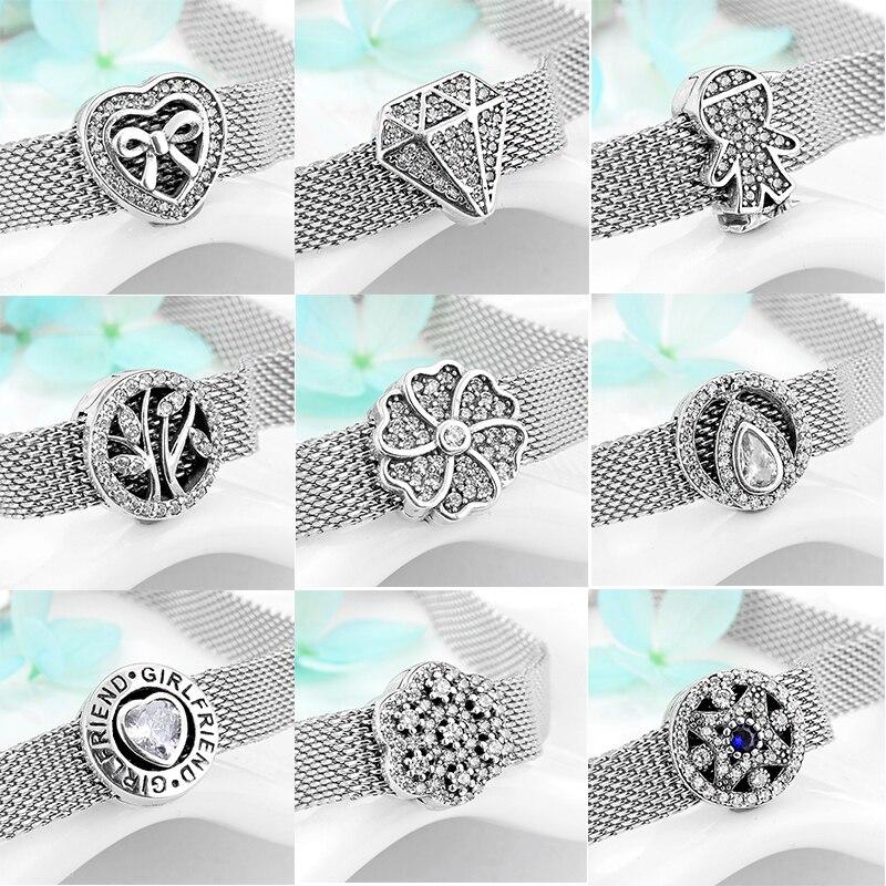 2019 Hot sale 925 Sterling Silver Sparkling CZ Clipe rodada Beads Fit Original reflexões Encantos Pulseira fazer Jóias