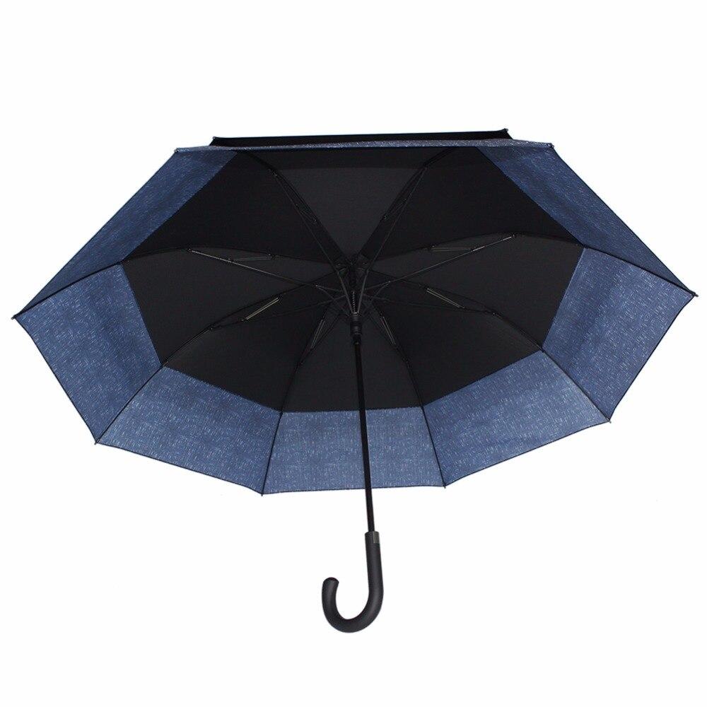 Susino Super grand parapluie adultes parapluies bâton semi-automatique conception magique bleu Long manche coupe-vent rétractable parapluies - 4