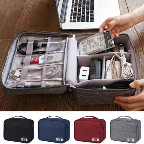 Travel Storage Bags Nylon Electronics Accessories Organizer Travel Storage Hand Bag Cable USB Drive Case Bag