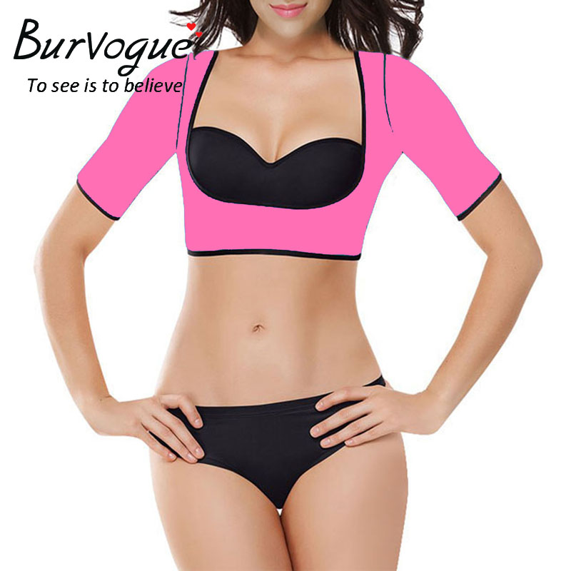 Burvogue Women Shapers Neoprene Sauna Slimming Waist Trainer Vest Arm Shaper Short Sleeve Shapewear Push Up Crop Top Body Shaper