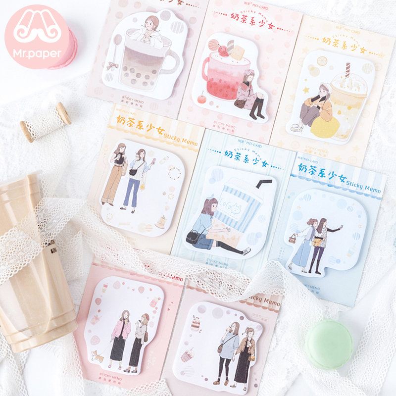 Mr Paper 30pcs/lot 8 Designs Milk Tea Girls Memo Pad Sticky Notes Notepad Diary Creative Stationery Self-Stick Notes Memo Pads