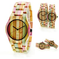 Fashion Bamboo Wood Watch Colorful Women Watches Rainbow Quartz Watch Natural Wooden Wristwatch with Bamboo Band relojes mujer