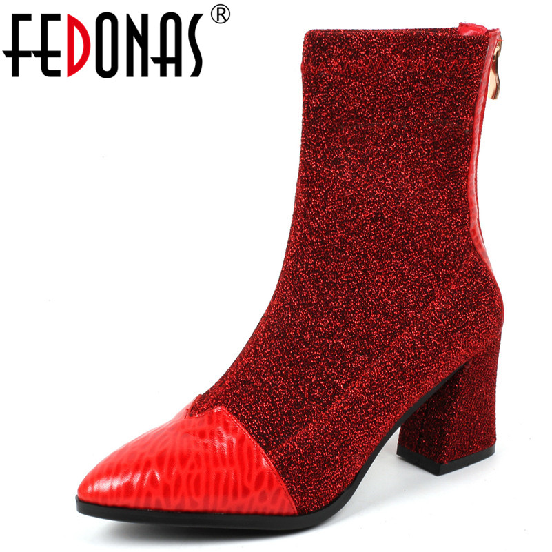 FEDONAS New Women Square Heels Ankle Boots Zipper Autumn Winter Socks Boots Fashion Brand Wedding Party Shoes Woman New Pumps