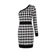 Geometric Jacquard Bandage One Shoulder Long Sleeve Dress