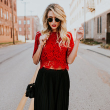 New Fashion Women Blouses White Floral Lace Tops  Ladies Short Sleeve O neck Casual Shirts 2018 Spring  Hollow Out Blouses