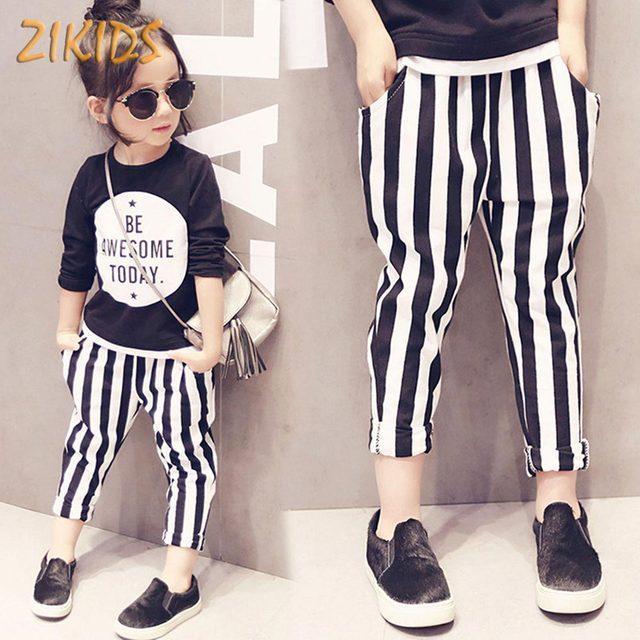 Chicas lindas Del Bebé Pantalones de Algodón Puro Moda Otoño Rayas  Pantalones para Niñas Casual Kids 7a75f97f753
