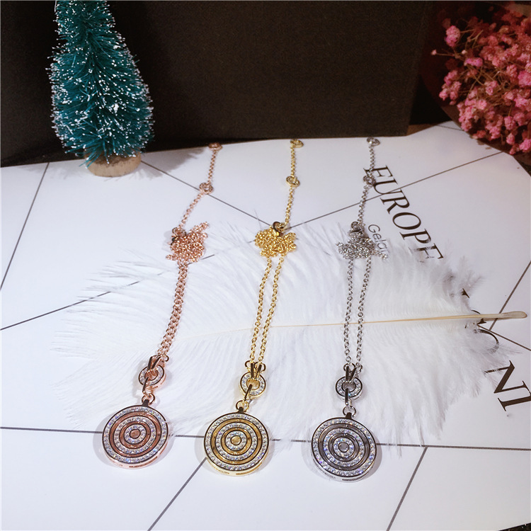 Chance apportant grand plateau pendentif pur 925 en argent Sterling chaîne collier de haute qualité étincelant Zircon décoratif femmes collier - 2