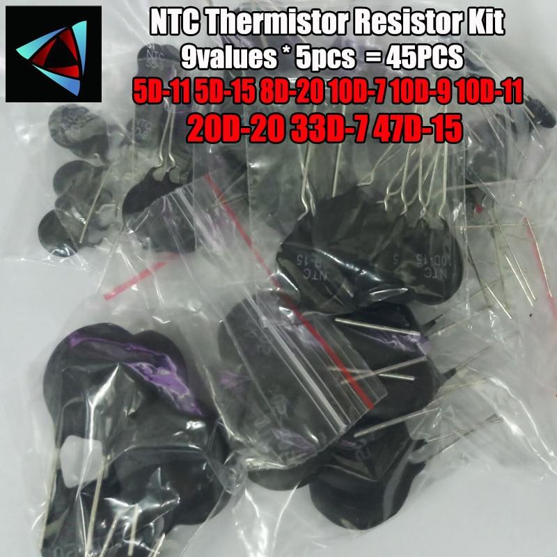 45PCS/LOT NTC Thermistor Resistor Kit 5D-11 5D-15 8D-20 10D-7 10D-9 10D-11 20D-20 33D-7 47D-15 Thermal Resistor Resistance Set