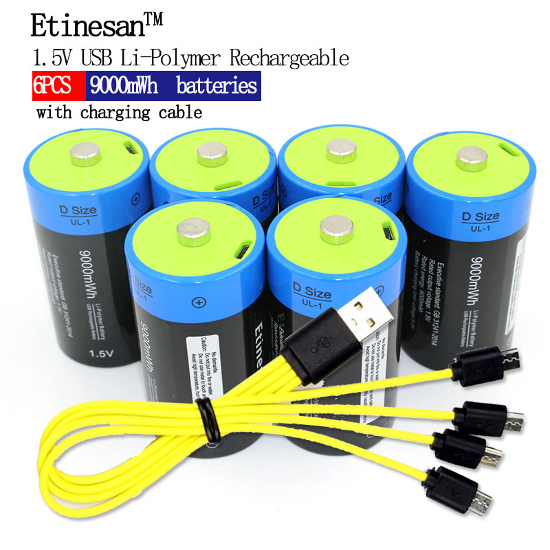 6pcs lot etinesan 1 5V 9000MWH li polymer rechargeable D size battery li ion powerful USB