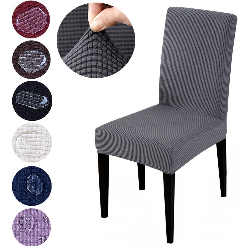 Tissu Jacquard Super doux à court terme imperméable à l'eau extensible chaise couverture élastique Spandex siège chaise couverture pour salle à manger/cuisine
