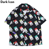 DARK ICON Full Printed Side Split Turn down Collar Men's Shirt 2019 Summer Hawaii Style Shirts Men Streetwear Shirts
